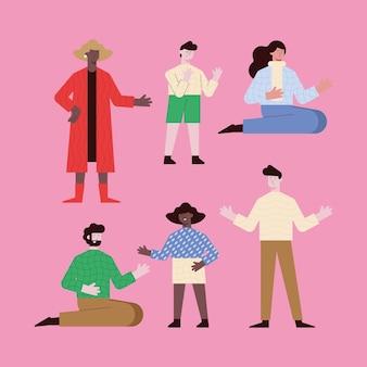 Cartoni animati di donne e uomini su sfondo rosa