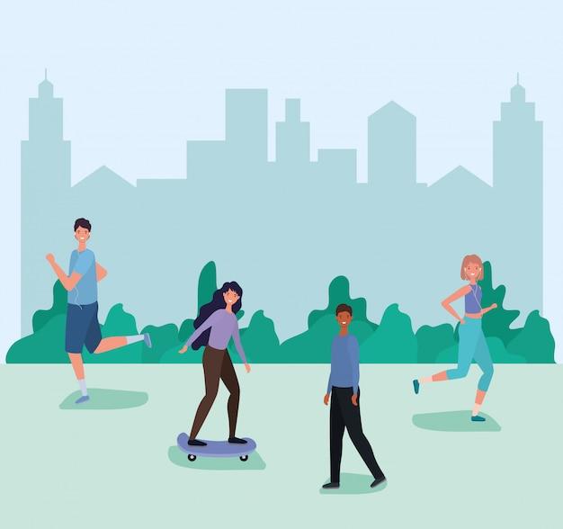 Cartoni animati di uomini e donne in esecuzione e su skateboard davanti alla città
