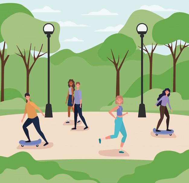 Cartoni animati di uomini e donne in esecuzione e su skateboard al parco con lampade