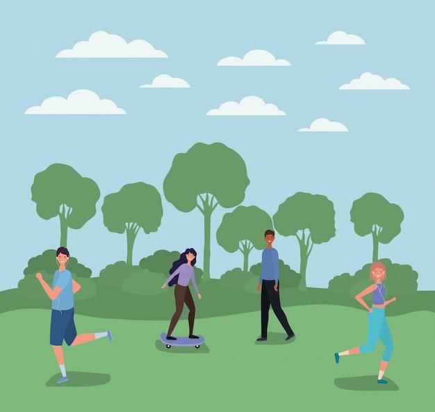 Cartoni animati di uomini e donne in esecuzione e su skateboard al parco