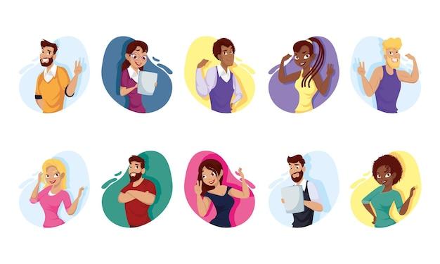 Cartoni animati di uomini e donne scenografia, persone persona e tema umano illustrazione vettoriale