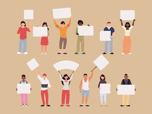 Cartoni animati di uomini e donne con cartelloni pubblicitari, illustrazione di tema di protesta e dimostrazione di manifestazione