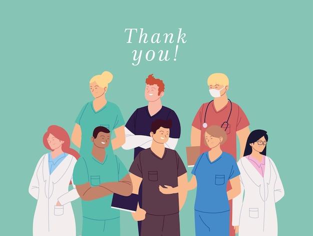 Donne e uomini medici con uniformi e testo di ringraziamento