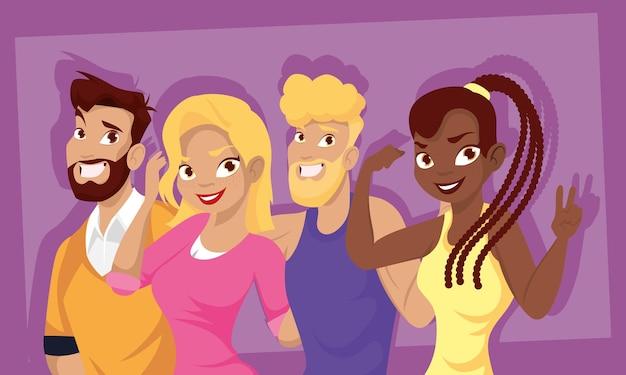 Cartoni animati felici uomini e donne progettano, persone persona e tema umano illustrazione vettoriale