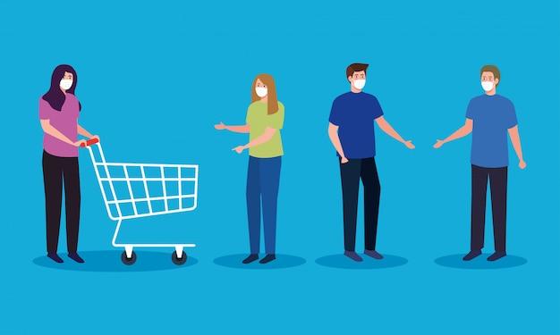 Donne e uomini con le maschere e il carrello di vendita al dettaglio online del mercato del commercio elettronico e compri l'illustrazione di tema
