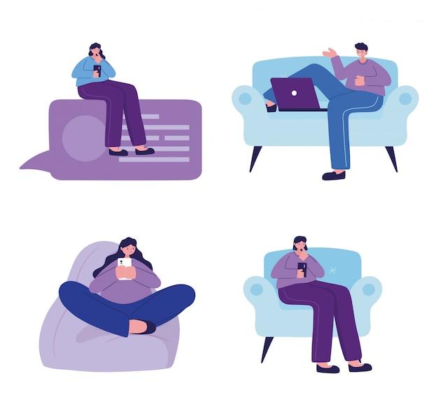 Donne e uomini con smartphone e laptop in chat design