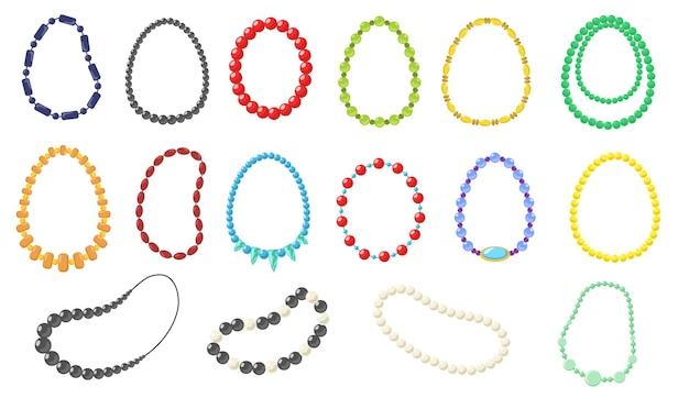 Set collana donna. collezione di collane alla moda in oro, argento, perle, perline su bianco