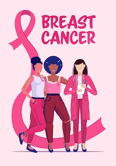 Donne pazienti che hanno consultazione con il nastro rosa di concetto di consapevolezza e prevenzione della malattia di giorno del cancro al seno medico femminile