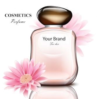 Bottiglia di profumo per donna con delicata fragranza di fiori margherita. disegni di confezioni di prodotti realistici