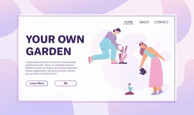 Le donne piantano e annaffiano fiori, sono impegnate nel giardinaggio. coppia di agricoltori lavorano insieme nella fattoria