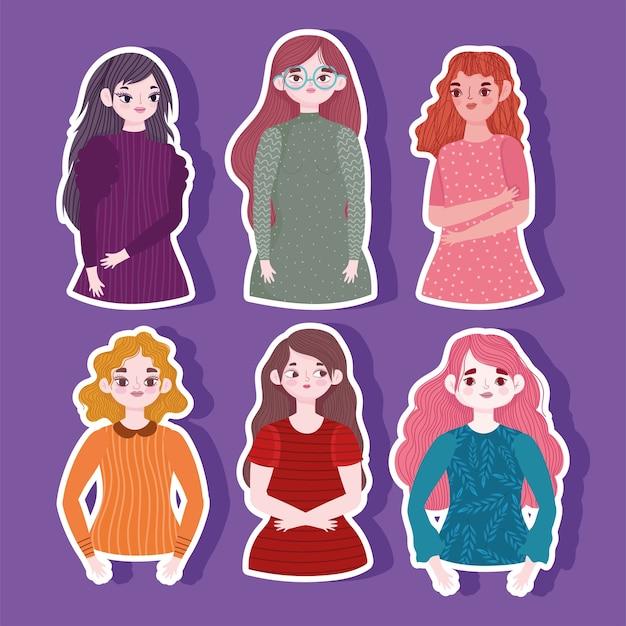 Ritratto di donne giovani personaggi dei cartoni animati adesivi viola illustrazione