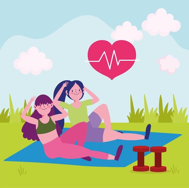 Donne che praticano esercizi