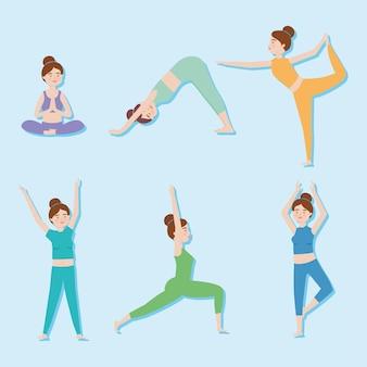 Set di icone di donne che praticano yoga