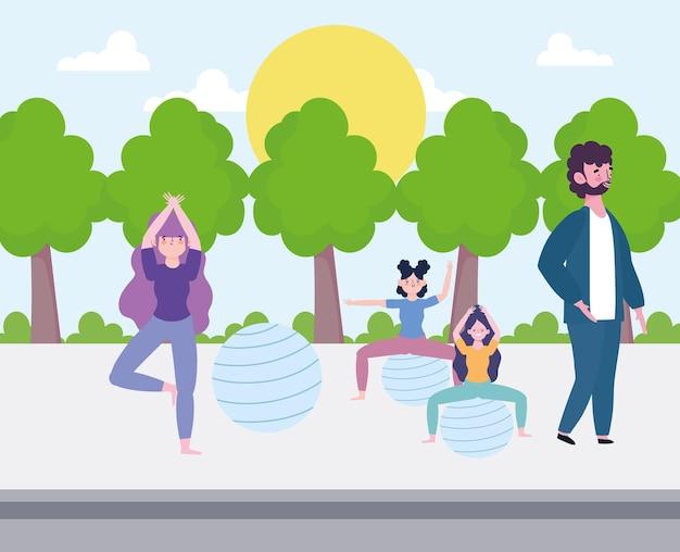 Donne che praticano yoga