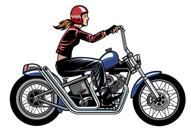 Donne in sella a una moto chopper