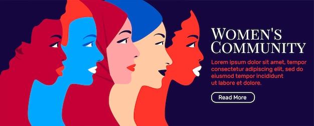Banner di movimento di comunità e femminismo femminile