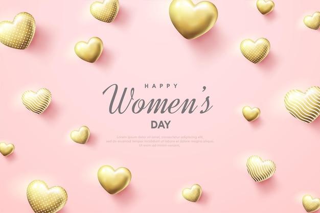 Sfondo festa della donna con palloncini ablon amore oro.