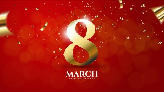 Il fondo del giorno delle donne con l'illustrazione numero 8 ha colorato l'oro su un rosso Vettore Premium