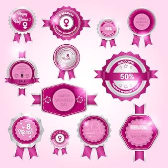 Set distintivo per la festa della donna