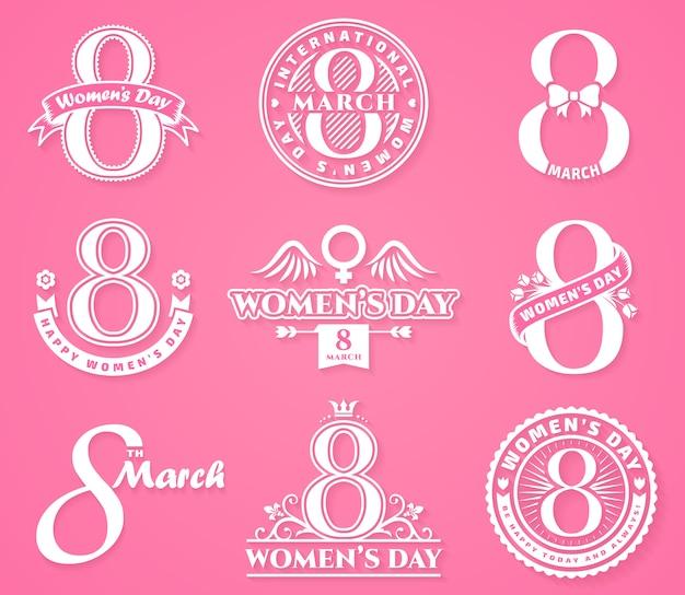 Distintivi ed emblemi per la festa della donna.