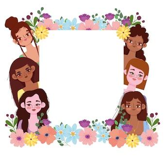 Banner di festa della donna con fiori e banner bianco