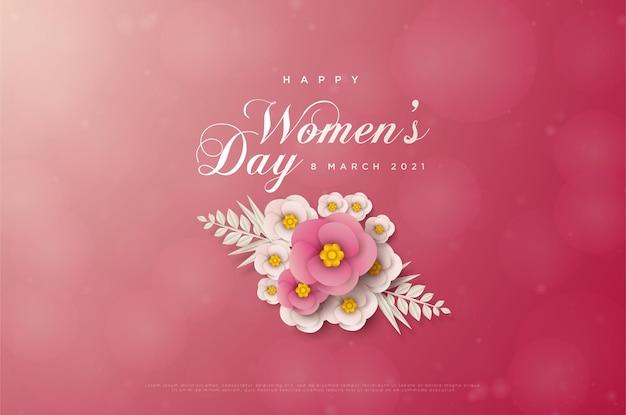 Carta di giorno delle donne con fiori rosa e fiori bianchi.