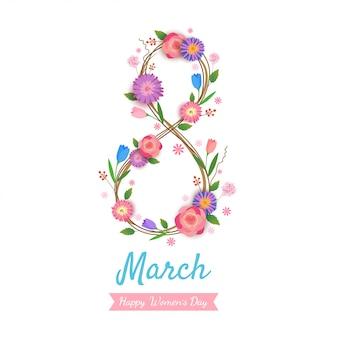 Disegno numero 8 della festa della donna per avvolgere i fiori su bianco.