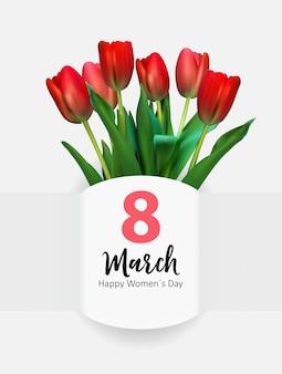 Cartolina d'auguri per la festa della donna illustrazione 8 marzo