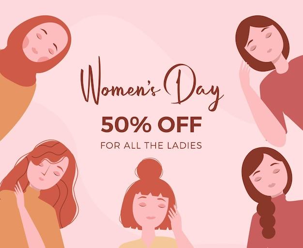 Concetto di illustrazione del giorno della donna in design piatto