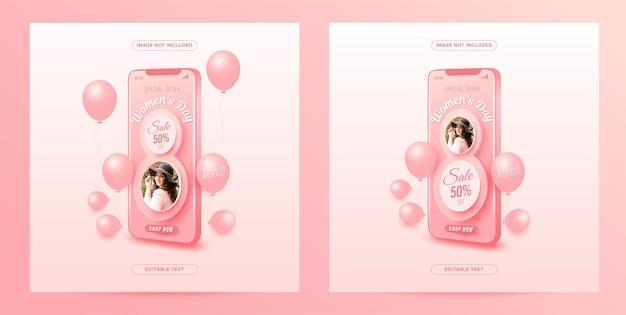 Promozione dello shopping online per la festa della donna su dispositivo mobile