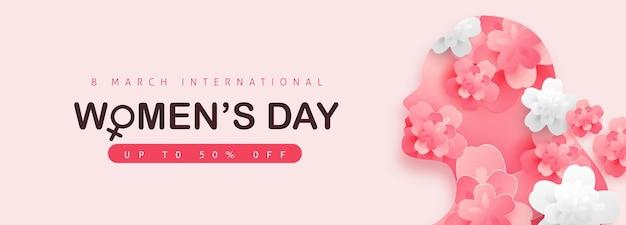 Banner di vendita del giorno della donna. giornata internazionale della donna.