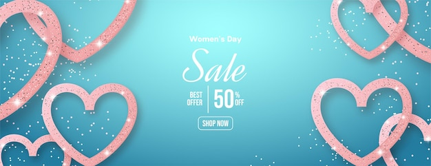 Vendita di giorno della donna con illustrazione di amore glitter 3d. Vettore Premium
