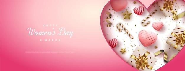 Vendita di giorno della donna con palloncini d'amore e