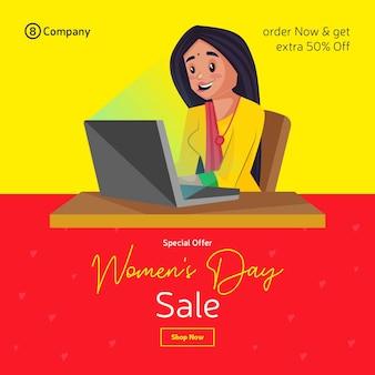 Progettazione dell'insegna di vendita di offerta speciale di giorno della donna con la ragazza che lavora al computer portatile
