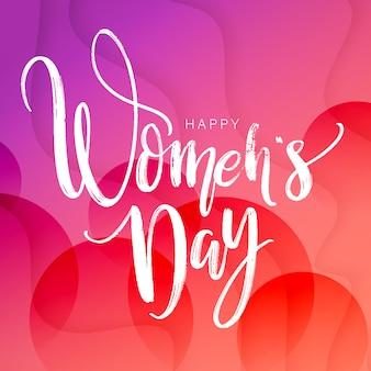 Progettazione del testo del giorno delle donne sul fondo quadrato del gradiente rosso.