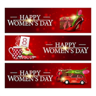 Insegne di congratulazioni orizzontali rosse del giorno delle donne tre Vettore Premium