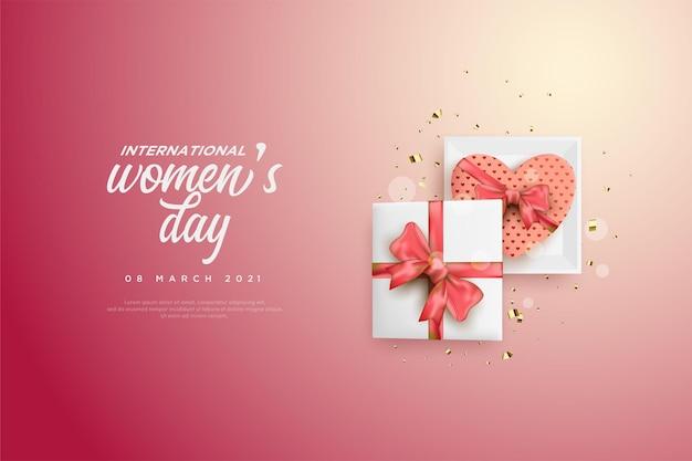 Giornata della donna con l'illustrazione di una confezione regalo aperta.