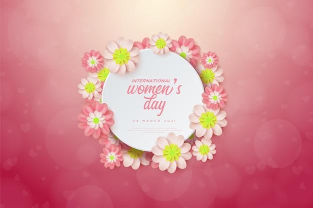 Festa della donna con illustrazioni di fiori colorati e piatti circolari.