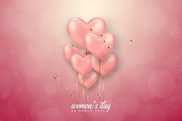 Giornata della donna con palloncini rosa amore.