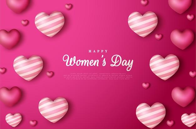 Festa della donna con le illustrazioni di palloncini d'amore sparsi.
