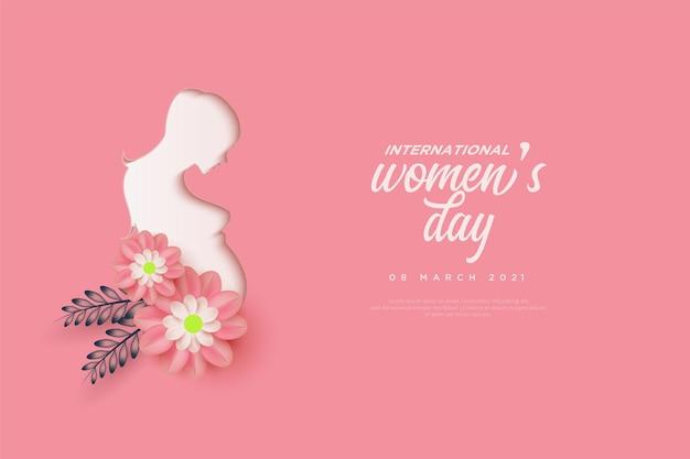 Giornata della donna con illustrazione della donna e fiori rosa su sfondo rosa.