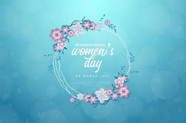 Giornata della donna con la scrittura in un cerchio fiorito.