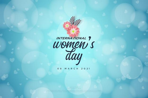 Giornata della donna con scrittura e fiori rosa sullo sfondo bokeh.
