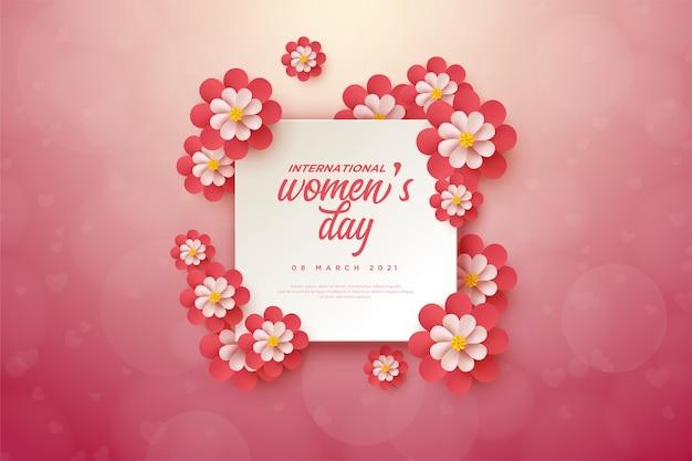 La festa della donna si svolgeva su una lastra quadrata decorata con fiori.