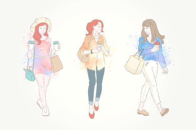 Linea moda donna e colorato pennello ad acquerello