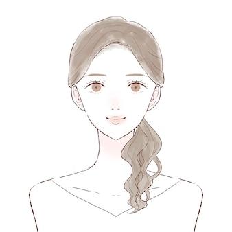 Davanti e busto da donna. immagine per la cura della pelle. su uno sfondo bianco.