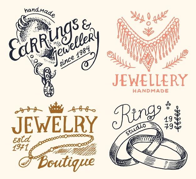 Distintivi di gioielli da donna e logo per negozio