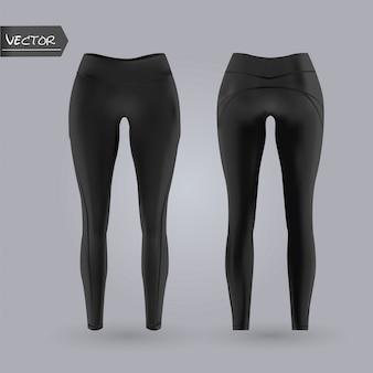 Leggings da donna mockup in vista anteriore e posteriore, isolato su uno sfondo grigio. illustrazione realistica di vettore 3d.