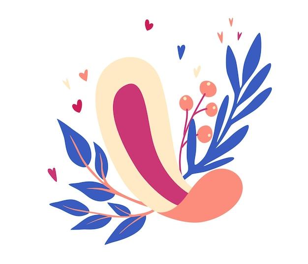Assorbenti igienici da donna. assorbenti igienici con foglie e fiori. prodotto per l'igiene femminile.