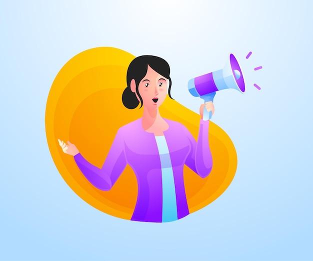 Le donne urlano usando i megafoni